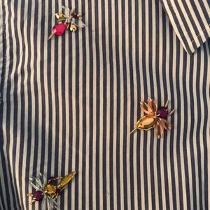 J. Crew beaded striped shirt
